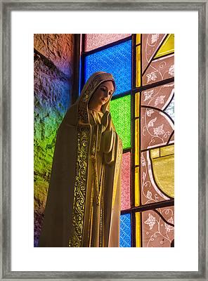 Colorful Virgin Mary Framed Print by Jess Kraft