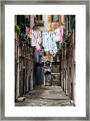 Colorful Washings In Venice Framed Print