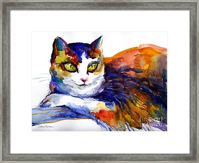 Colorful Watercolor Cat On A Tree Painting Framed Print