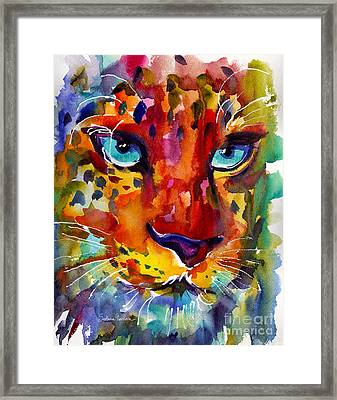 Colorful Watercolor Leopard Painting Framed Print