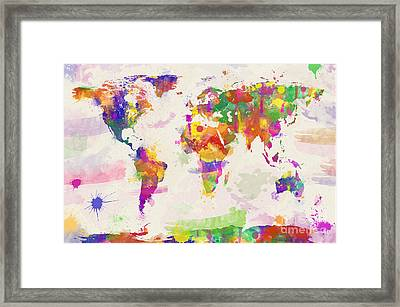 Colorful Watercolor World Map Framed Print
