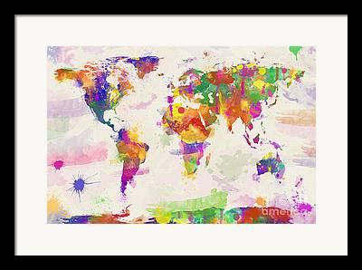 Designer World Map Framed Prints