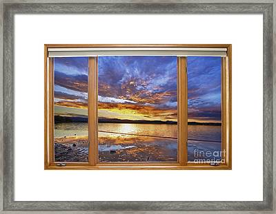 Colorful Waterfront Classic Wood Window View  Framed Print