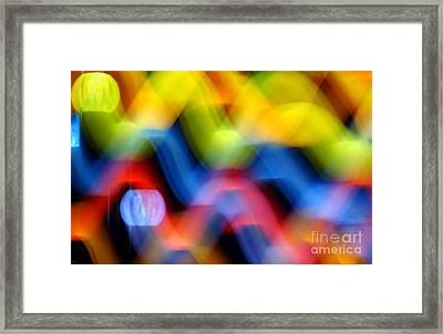 Colorful Waves Of Light Framed Print by Yali Shi