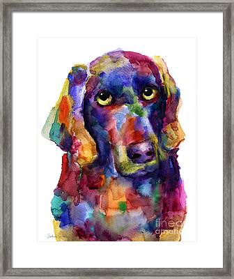 Colorful Weimaraner Dog Art Painted Portrait Painting Framed Print