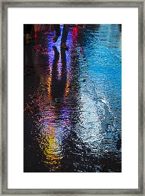 Colorful Wet Pavement Framed Print by Garry Gay