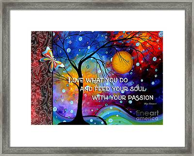 Colorful Whimsical Inspirational Butterfly Landscape Painting By Megan Duncanson Framed Print