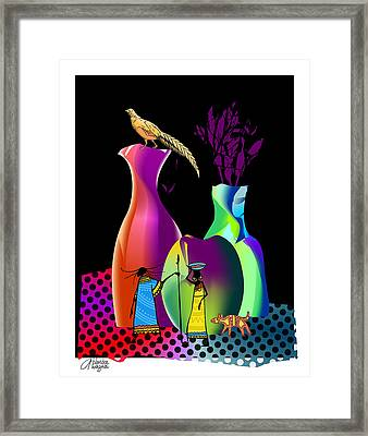 Framed Print featuring the digital art Colorful Whimsical Stll Life by Arline Wagner