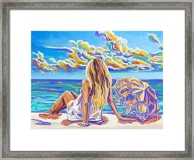 Colorful Woman At The Beach Framed Print
