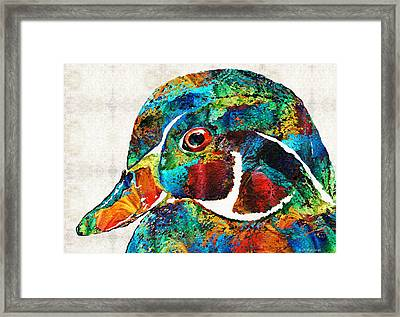Colorful Wood Duck Art By Sharon Cummings Framed Print