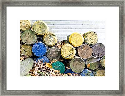 Colorful Wood Logs Framed Print