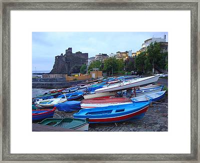 Colorful Wooden Fishing Boats Of Aci Castello Sicily With 11th Century Norman Castle Framed Print by Jeff at JSJ Photography