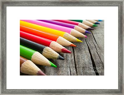 Colorful Wooden Pencil Framed Print by Aged Pixel