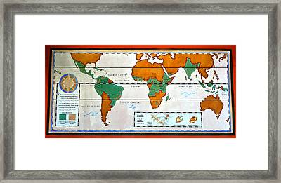 Colorful World Map Of Coffee Framed Print