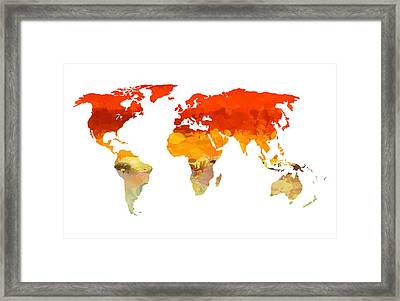 Colorful World Map Framed Print by Art Spectrum