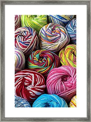 Colorful Yarn Framed Print by Garry Gay