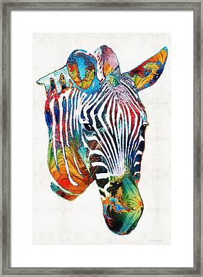 Colorful Zebra Face By Sharon Cummings Framed Print by Sharon Cummings