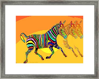 Colorful Zebra X3 _ The Card Framed Print