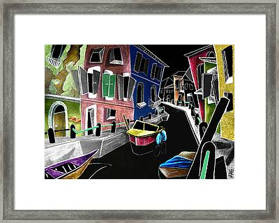 Colori Di Burano - Fine Art Venice Canal Paintings Italy Framed Print by Arte Venezia