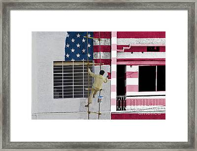 Coloring United States Flag Framed Print by Image World