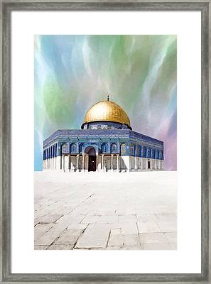 Colors Dome Of The Rock Framed Print by Munir Alawi