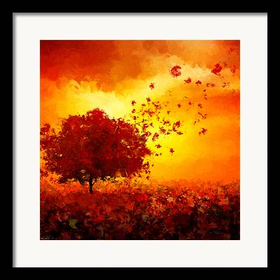 Red And Gold Leaves Framed Prints