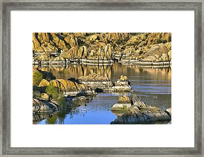 Framed Print featuring the photograph Colors In The Rocks At Watsons Lake Arizona by James Steele