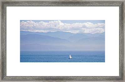 Colors Of Alaska - Sailboat And Blue Framed Print
