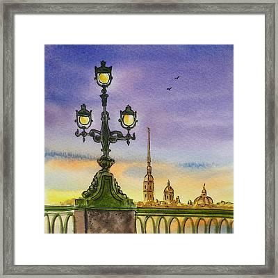 Colors Of Russia Bridge Light In Saint Petersburg Framed Print by Irina Sztukowski