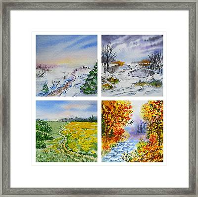 Colors Of Russia Four Seasons Framed Print by Irina Sztukowski