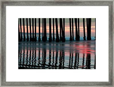 Framed Print featuring the photograph Reflections Under The Pier - Pismo Beach California by Gregory Ballos