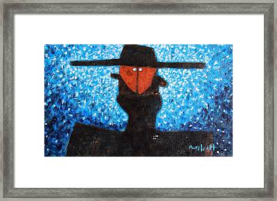 Colos Masked Man Blue Framed Print by Mark M  Mellon