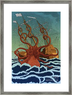 Colossal Octopus Attacking Ship 1801 Framed Print by Science Source