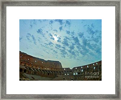 Framed Print featuring the photograph Colosseum At Dusk - Rome by Cheryl Del Toro