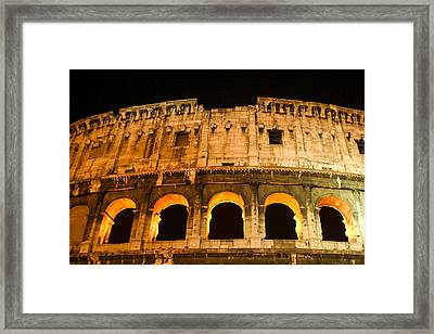 Framed Print featuring the photograph Colosseum At Night by Rob Tullis