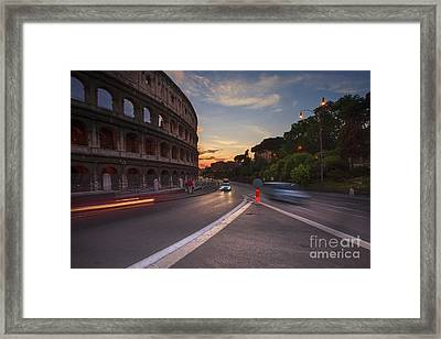 Colosseum At Sunset Framed Print by Maria Feklistova