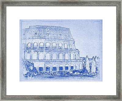 Colosseum Of Rome Blueprint Framed Print by Kaleidoscopik Photography