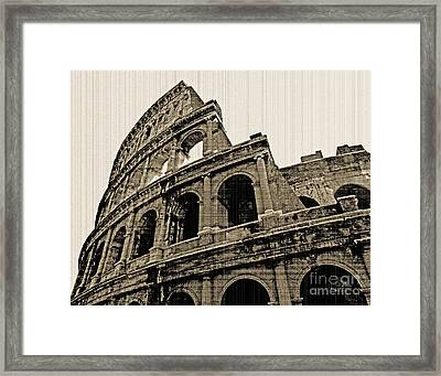 Framed Print featuring the photograph Colosseum Rome - Old Photo Effect by Cheryl Del Toro