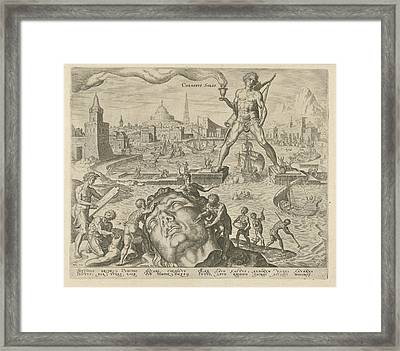 Colossus Of Rhodes, Philips Galle, Hadrianus Junius Framed Print by Philips Galle And Hadrianus Junius