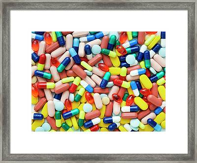 Coloured Capsules And Tablets Framed Print