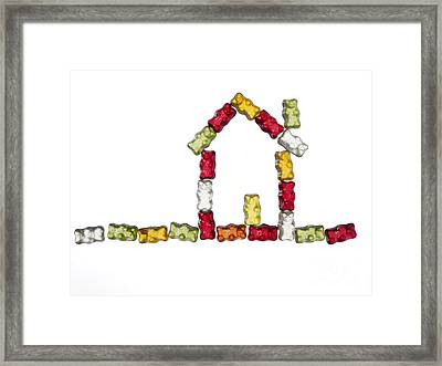 Coloured Jellybabies Formed As A House Framed Print