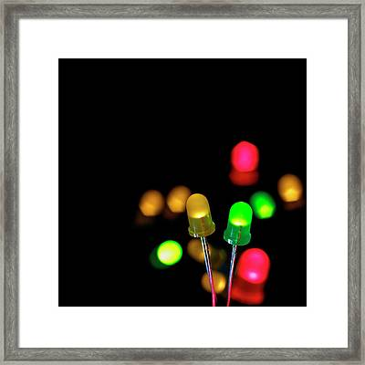 Coloured Leds Framed Print by Science Photo Library