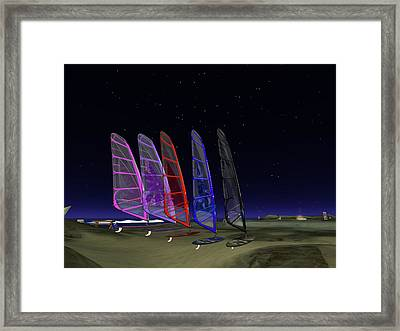 Framed Print featuring the digital art Coloured Sails by Susanne Baumann