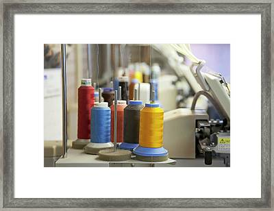 Coloured Threads On Embroidery Machine Framed Print