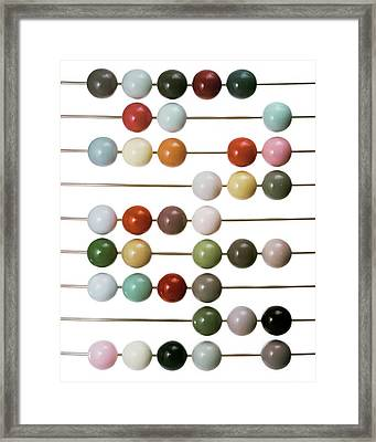Colourful Beads On Metal Rods Framed Print