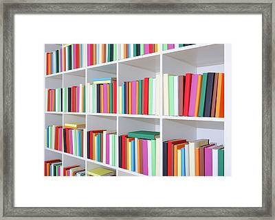 Colourful Books On A Bookcase Framed Print