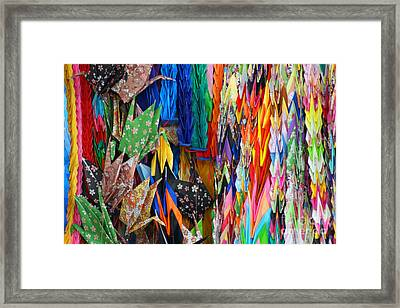 Framed Print featuring the photograph Colourful Cranes by Cassandra Buckley