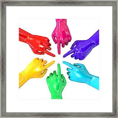 Colourful Hands Circle Pointing Inward Framed Print