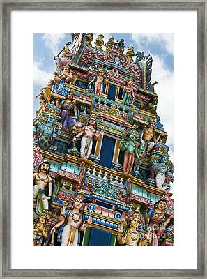 Colourful Hindu Temple Gopuram Statues Framed Print