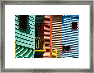 Colourful Houses In The Colourful Quarter Of La Boca - Buenos Air Framed Print by OUAP Photography
